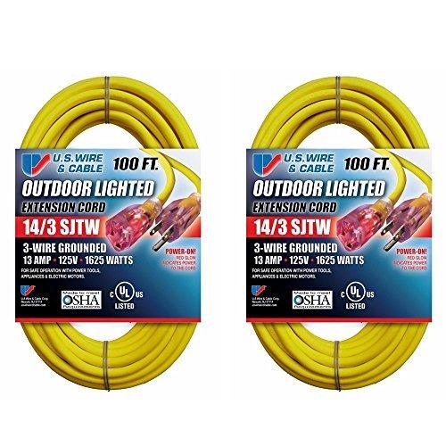 US Wire 63100 14//3 100-Foot SJTW Orange Medium Duty Extension Cord U.S Wire /& Cable//Flexon
