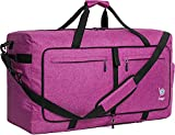 Bago 100L Travel Duffle Bag - Foldable Weekender Bag For Women & Men - Lightweight tier-resistant waterproof Shoe Pocket (SnowPurple)