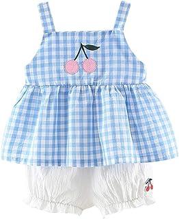 f4b52c72c05df Ensemble de Bebe Fille Mode Vetement 🍒ABsoar Enfant sans Manches Treillis  Imprimé Cerise Top à
