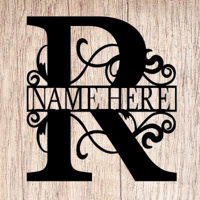 AJD Designs Personalized Last Name R Door Hanger - 20' Metal Monogram Door Hanger- Metal Last Name Sign - Split Letter Monogram - Initial Door Wreath - Last Name Wall Decor - Metal Wall Decor - Gift