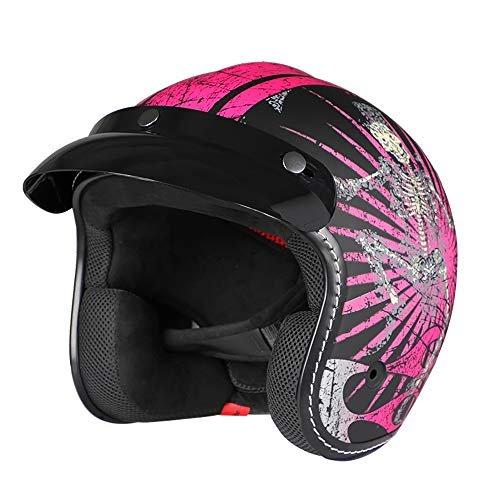 Harley-Helm, für Herren und Damen, Halbgesichts-Helm, 3/4-Helm, Dirtbike, Offroad,...