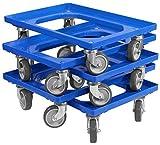 5 Stück Transportroller für Kisten 60 x 40 cm mit 4 Lenkrollen in blau