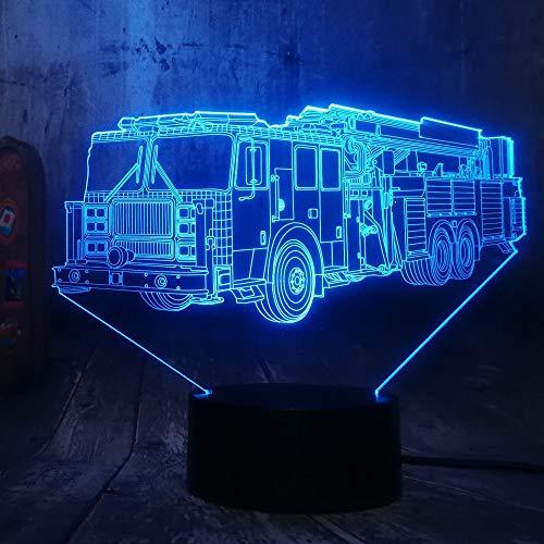 DGTJSISHIJIU Cool Fire Engine Voiture 3D LED 7 Couleur Lampe De Poche Nuit Lumière Chambre Lampe De Bureau Décor À La Maison Enfant Enfant Noël Halloween Jouet Cadeau