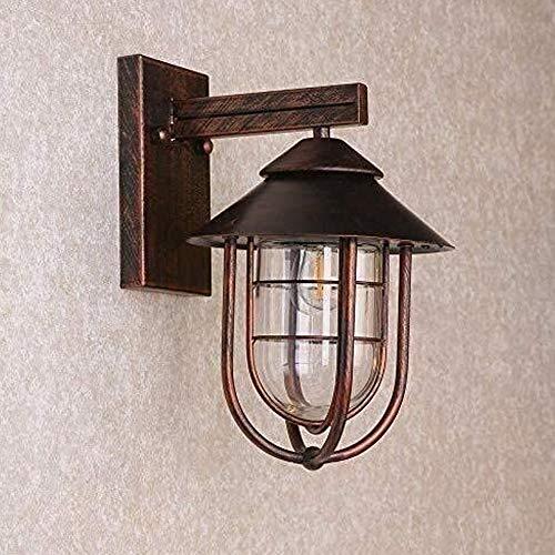 LGOO1 Aplique de pared para exteriores con barniz para hornear de alta temperatura, lámpara de pared exterior náutica industrial vintage, antiguo IP54, lámpara de pared con sombra de vidrio impermeabl