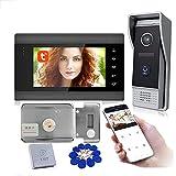 Timbre con video Tuya WiFi, intercomunicador con videoportero con monitor de 7 pulgadas, cerradura eléctrica, cámara de seguridad con visión nocturna, desbloqueo de APP,Set