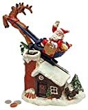 Christmas Decorations - Santa's Christmas Sleigh Ride Collector Die Cast Iron Mechanical Coin Bank - Savings Bank - Piggy Bank