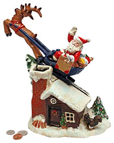 Kerstdecoratie - zachte kerst Sleigh Ride Collector Cast IJzer Mechanische munt Bank - spaarpot - Piggy Bank