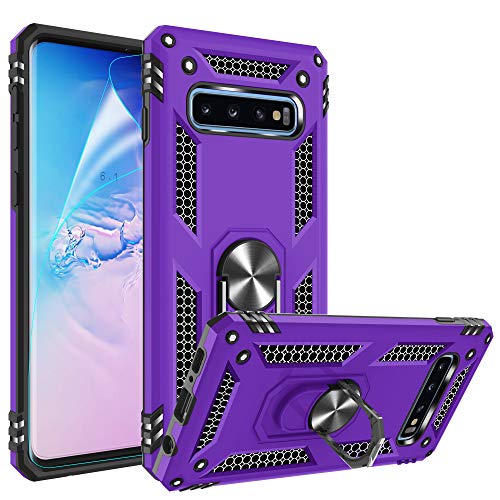 Galaxy S10 Case with HD Screen Protector, Gritup Military Grade 15ft. Drop Tested Cover with Magnetic Ring Kickstand Compatible with Car Mount Holder, Phone Case for Samsung Galaxy S10 Purple