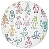 Round Rug Mat Carpet,Doodle,Drawings of Various Robots Performing a Number of Tasks Radar Waiter Guard Cleaner Decorative,Multicolor,Flannel Microfiber Non-slip Soft Absorbent,for Kitchen Floor Bathro