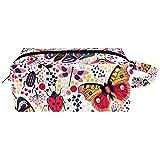 Bolsa de maquillaje de piel de microfibra con cremallera para mujer, diseño de mariquita y abejas