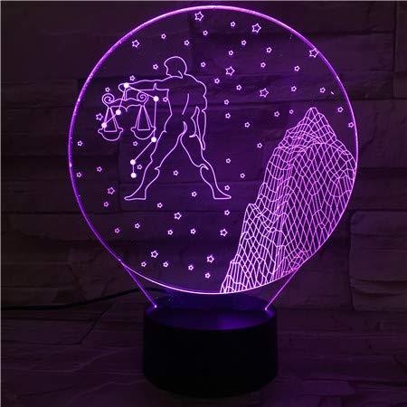 Optische Illusie 3D Zodiac Weegschaal Nachtlampje 7 Kleuren Veranderende USB Power Touch Schakelaar Decor Lamp LED Tafel Bureau Lamp voor Kinderen, Kerstversiering, Verjaardagscadeau, Slaaplamp