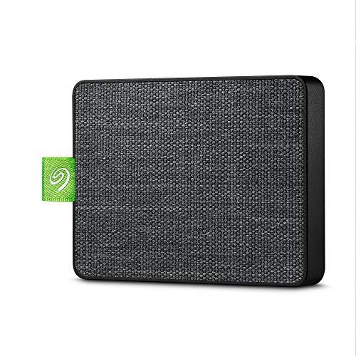 Seagate Ultra Touch SSD 500 GB Externes Solid-State-Laufwerk, tragbar, USB-C USB 3.0 für PC MAC und Seagate Mobile Touch App für Android, Mylio, Adobe & 3-Jahres-Rettungsdienst (STJW500401) Schwarz
