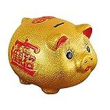 La Hucha de Cerdo de Cerdo Dorado Solo Puede ingresar el Cambio de la Hucha de Cambio de cerámica (25 cm) _Puede Estar Disponible (bendición) para Enviar Almohadillas de Oro