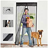 Lvelfe Magnetic Fly Screen Door, Super Fine Mesh Fly Curtain, Insect Protection Fly Screens for Doors Automatically Closing, Hands Free Mosquito Net Door No Gap, Keep Fresh Air in & Bugs Out(90x210cm)