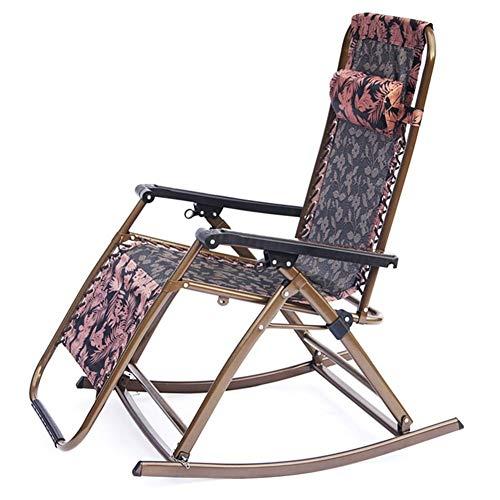 HOLPPO-Desk Plegable Silla Mecedora, Descanso for Comer, Tumbona, al Aire Libre Salón de Asiento reclinable (Color : A)