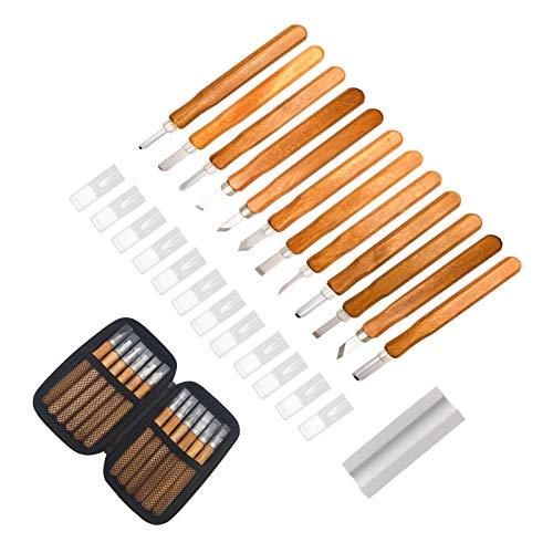 Holz-Schnitzwerkzeug Set, 12 stück Holz-Schnitzmesser und ein Schleifsteine, für Holz, Obst, Gemüse, Carving DIY, und Wax, Holzschnitzerei Messer für Anfänger (12 PCS)