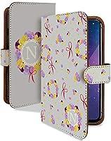 iPhone 12 mini ケース 手帳型 携帯ケース イニシャル N リース グレー おしゃれ アイフォン アイフォーン アイホン ミニ スマホケース iPhone12mini iPhone12 12mini アルファベット カメラレンズ全面保護 カード収納付き 全機種対応 t0838-01140