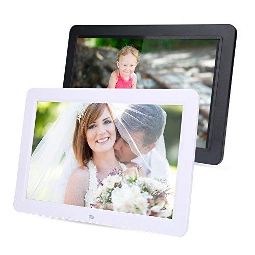 Hakeeta 12 Zoll Digitaler Bilderrahmen mit Fernbedienung unterstützt Musik/Video/eBook/Uhr/Kalender-Funktion, 1280 x 800 hochauflösend, Full HD LED Bildschirm(schwarz)
