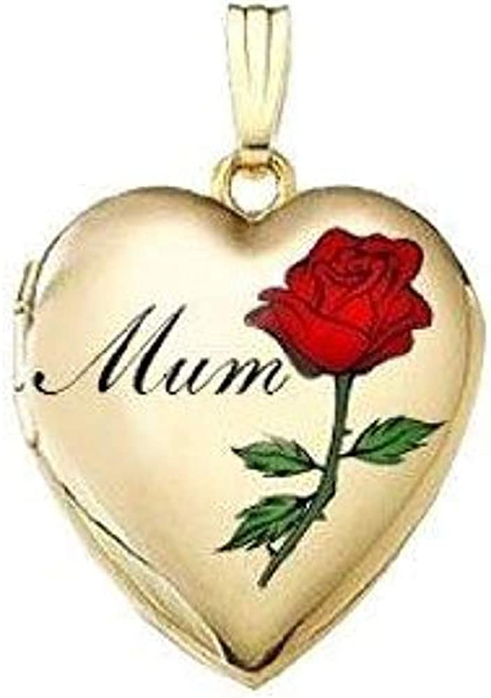 PicturesOnGold.com 14K Gold Filled Mothers Day Mum Rose Heart Locket - 3/4 Inch X 3/4 Inch in Solid 14K Gold Filled