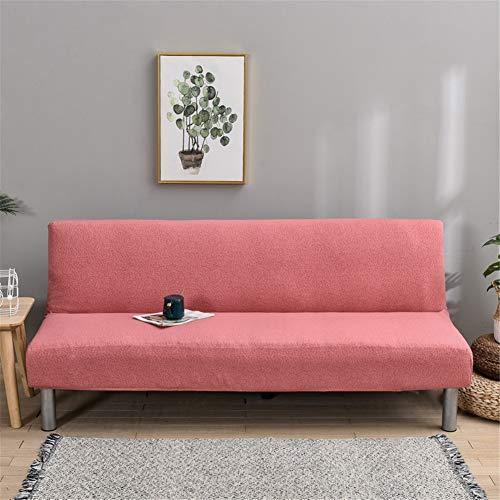 Sofabezug Ohne Armlehnen 3 Sitzer Wasserdicht, Couch Bezug Elastischer Anti Rutsch Husse, Bettcouch Schonbezug, Klappsofa Bezug (Rose)