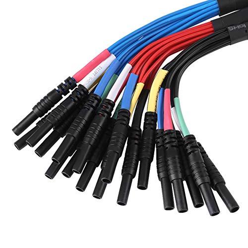 HT306 Leadout Leads - Juego de Cables de Prueba Universales para Osciloscopios de Diagnóstico Automático, 6 Canales (2,8 mm, Negro)