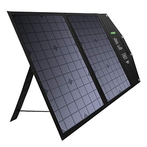 enkeeo ソーラーチャージャー 50W 折りたたみ式 ソーラーパネル 3WAY出力 DC (12v-18v) QC3.0 USB (12V max...