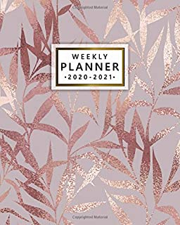 2020-2021 Weekly Planner: Cute Rose Gold Two Year Weekly Schedule Agenda & Planner - 2 Year Organizer with To-Do's, U.S. Holidays, Inspirational ... Board & Notes - Faux Metallic Autumn Leaves