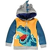 Garsumiss Bébé Garçon Manteau Veste Capuche pour Sweat Capuche Enfant de Dinosaure, Jaune, 6 ans