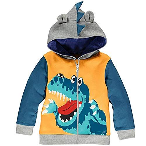 Garsumiss Giacca Ragazzini Fumetto Dinosauro Bambini Incappucciato Cappotto Cappuccio Felpa Hoodie Vestiti dei Bambini per 1-7 Anni (8 Anni, Giallo)