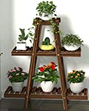 Medium Plant Stand - 3 Tier Wood Flower Rack & Shelf Planter Unit up to 7 Plant Pots, Succulents and Flowers. Multi-Tier Shelving Unit Display for Indoor, Outdoor, Garden, Patio, Balcony, Office