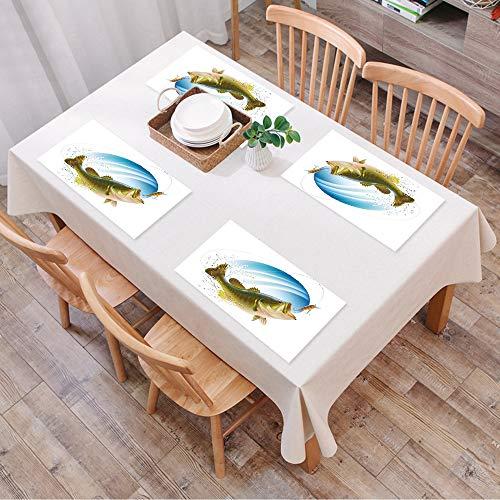 Salvamanteles Individuales Juego de 4,Decoración de pesca, bocazas de lubina capturando,Lavables Manteles...