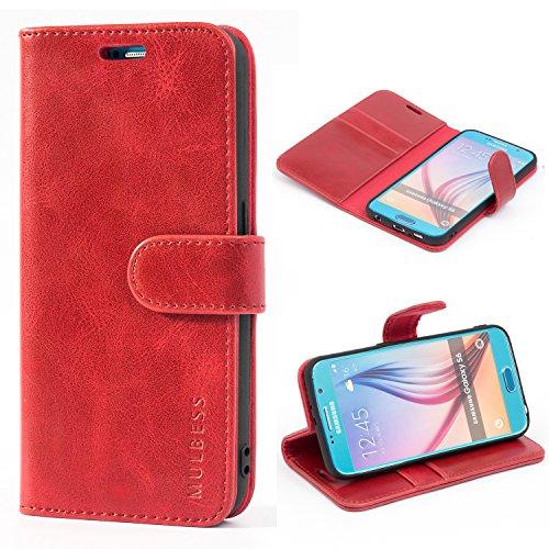Mulbess Handyhülle für Samsung Galaxy S6 Hülle Leder, Samsung Galaxy S6 Handy Hüllen, Vintage Flip Handytasche Schutzhülle für Samsung Galaxy S6 Case, Wein Rot