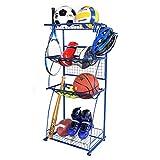 Mythinglogic Sports Equipment Storage for Garage, 4 Shelf Shelving Garage Organizer with Rack, Sports and Ball Storage, Sport Gear Balls Storage, Sport Utility Storage Rack, Blue