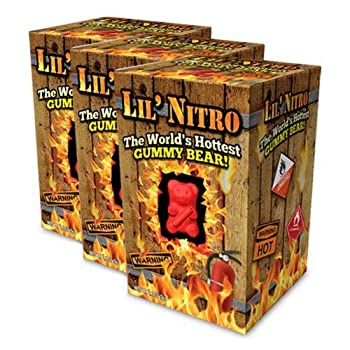 Lil Nitro The World s Hottest Gummy Bear by GiftWorld- Hot & Spicy Candy - 1 Bear is equal to 900 Jalapenos - Fiery Challenge - Pack of 3