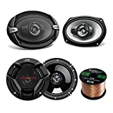 Car Speaker Package Of 2x JVC CS-DR6930 6x9' 500 Watt 3Way Vehicle Stereo Coaxial Speakers Bundle Combo With 2x CS-DR620 6.5' 300W 2-Way Audio Speakers, Enrock 50 Foot 16 Guage Speaker Wire