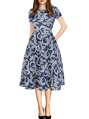 oxiuly Women's Fashion Round Neck Floral Casual Pockets Work Party Cocktail Church Swing A-Line Dress OX262 (L, Blue)