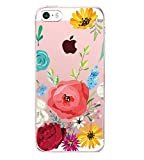 Pacyer Case kompatibel mit iPhone SE Hülle Silikon Ultra dünn Transparent iPhone 5S iPhone 5 Handyhülle Rückschale TPU Schutzhülle für Apple iPhone SE / 5S / 5 Cover Mädchen Elefant Federn (12)
