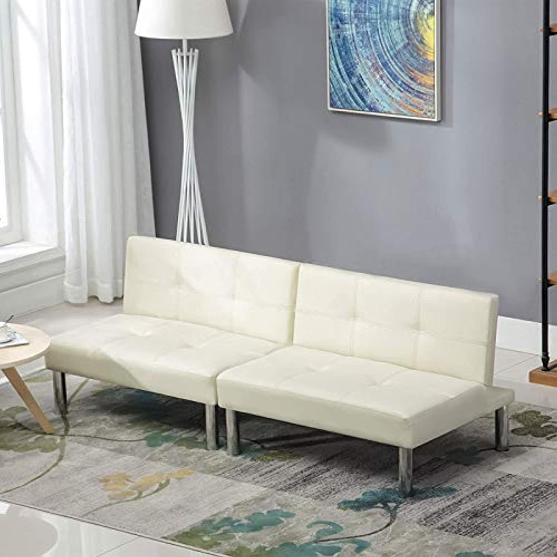 LAGRIMA Leder Sofabett Sofa Couch Schlafcouch Schlafsofa Bettsofa in Wei Cremefarben