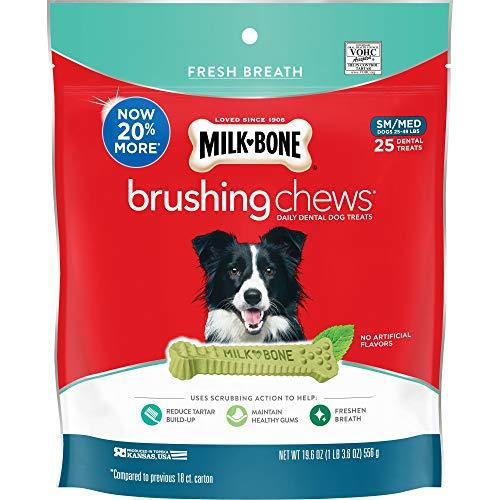 Milk-Bone Brushing Chews Daily Dental Dog Treats, Small/Medium Treats, 19.6 Ounces