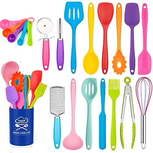 Silicone Cooking Utensil Set, Taiker Kitchen Cooking Utensils Set, Non-stick & Heat Resistant Silicone Cookware, BPA Free Non-Toxic Cooking Utensils, Kitchen Tools (Multi-colored)