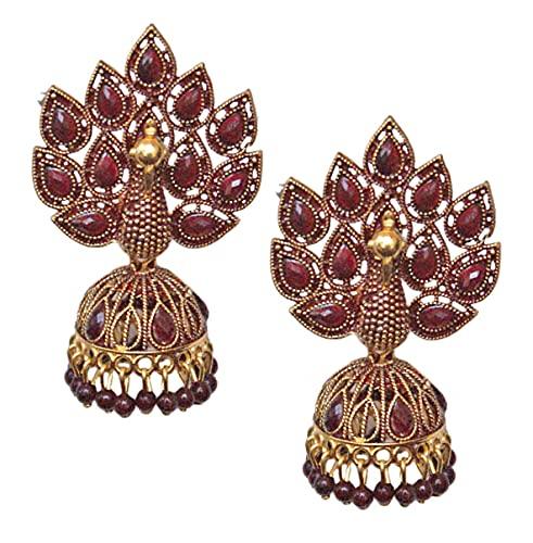 Pahal Traditional Jaipur Dark Red Pearl Kundan Painted Big Gold Jhumka Earrings Peacock Indian Bollywood Bridal Wear Jewelry for Women