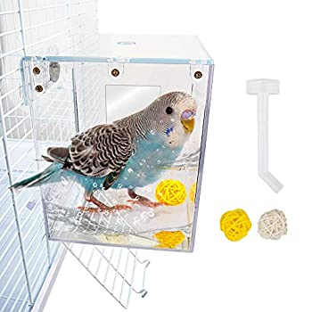 GAGILAND No-Leakage Bird Bath Box for Cage Parrot Hanging Bathtub Shower Box Cage Accessory for Small Birds Budgies Lovebirds Canary