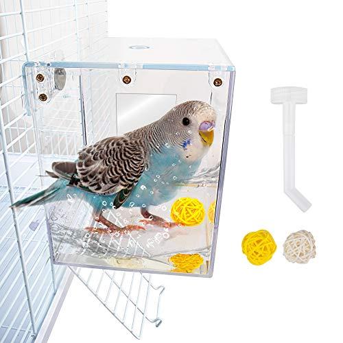 GAGILAND Vogeltränke für Käfig Papageien hängende Badewanne Dusche Box Käfig Zubehör für kleine Vögel Wellensittiche Liebesvögel Kanarienvögel