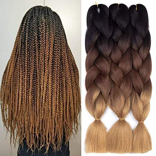 Ombre Braiding Hair 3 Packungen Kanekalon Jumbo Braiding Hair Extensions 24-Zoll-Ausdruck Braiding Hair Synthetisches Haar zum Flechten (Schwarz-Dunkelbraun-Hellbraun)