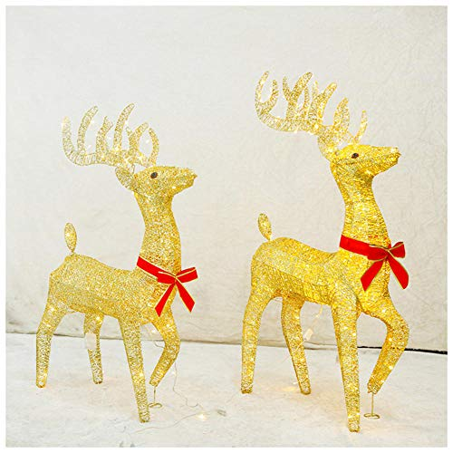 YWZQ Christmas Light Up Glitter Gold Reindeer LED Light Warm White Metal Iron Frame Gold Powder for Indoor Outdoor Christmas Lights Decorations,100cm