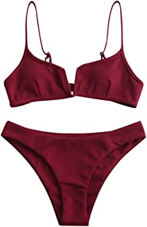 Women's V-Wire Padded Ribbed High Cut Cami Bikini Set Two Piece Swimsuit