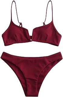 ZAFUL Women's V-Wire Padded Ribbed High Cut Cami Bikini Set Two Piece Swimsuit