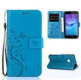 Huawei Y6 2017 Funda, SMTR Diseño retro del modelo de flores, Leather Wallet Case Cover Carcasa...
