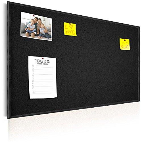 murando Pinnwand handbemalt & Kreidetafel 90x60 cm Kork Bilder Holzrahmen Korktafel Korkwand Memoboard Pinboard - Schwarz n-A-0102-q-d