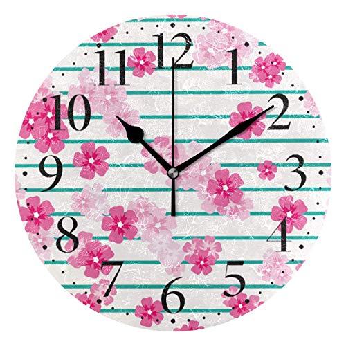 Reloj de Pared a Rayas con Flores de Cerezo Rosa, Reloj Redondo de acrílico de 10 Pulgadas con Pilas para decoración de Sala de Estar, sin Marco ni Cubierta de Vidrio